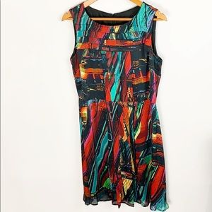 Ellen Tracy Abstract Colorful Midi Dress Size 12